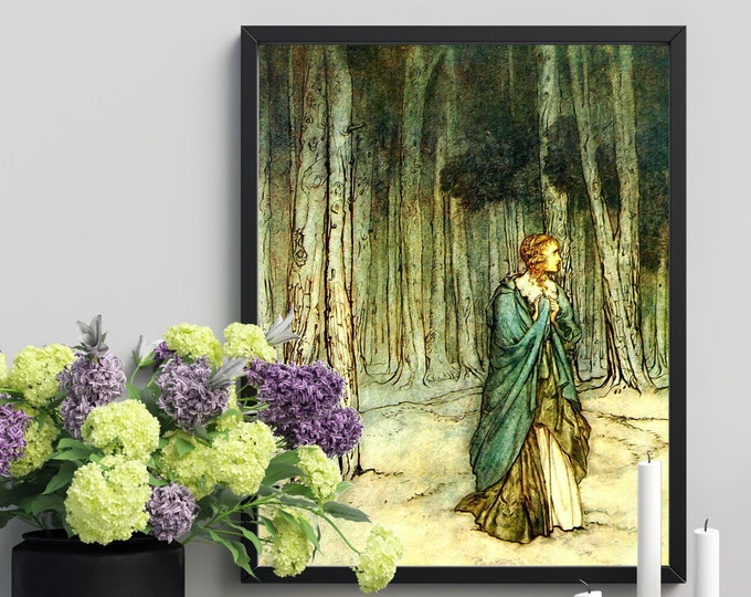 RACKHAM BOOKPLATE PRINT - Woman Lost in Forest, Fairy Tale Picture, Fairy Art, Princess Picture