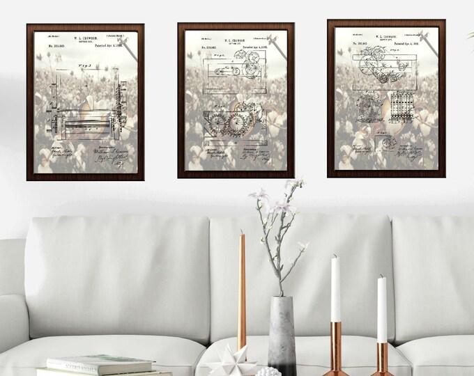 COTTON GIN PRINT |8x11 Cotton Field Background| Patent Print |Vintage Print | Digital Download | Nostalgic Wall Art |3 Combo Set