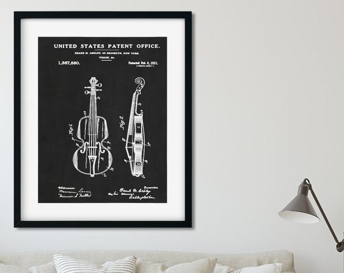 VIOLIN ART PRINT - Violin Art, Violin Poster, Violin Wall Art, Patent Print, Muscian Gift, Music Teacher Gift, Violin Gifts