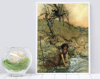 RACKHAM BOOK ILLUSTRATION - Fairy Tale Art Poster, Woman Washing By Stream, Watercolor Print, Vintage Wall Art