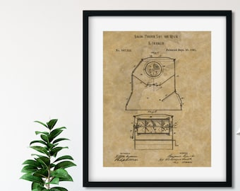B FRANKLIN PATENT - Kitchen Patent Print, Vintage Wall Art, Benjamin Franklin, Historical Art