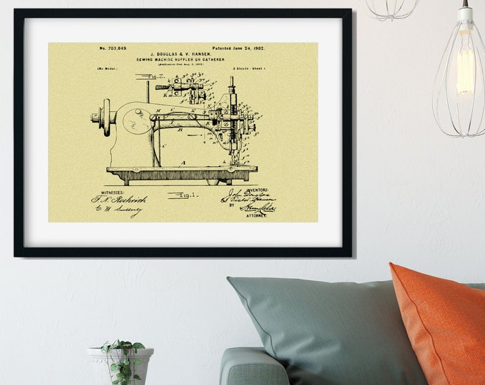 SEWING MACHINE POSTER From Patent Print, Antique Reproduction Patent, Seamstress Gift, Gift for Mom,