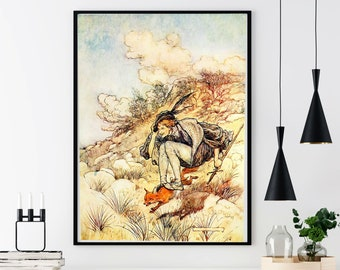 BOY RIDES FOX - Arthur Rackham, Fantasy Book Art, Watercolor Illustration
