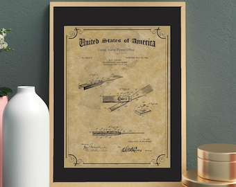 VINTAGE CHISEL PRINT Patent - Wood Carving Tool Poster, Carpenter Tool Patent Drawing