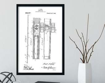 FISHING POLE PATENT Print 1908 - Black and White Digital Download