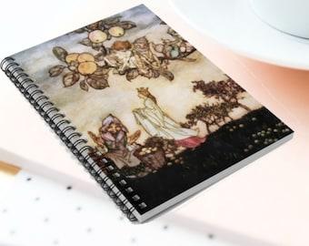 FAIRYTALE PRINCESS & WITCH -Spiral Notebook, Rule Lined, Arthur Rackham Print, Fantasy Art