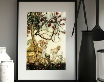 PICKING APPLES VINTAGE - Poster, Arthur Rackham Midsummer Night's Dream, Fairy Tale Art, Book Plate