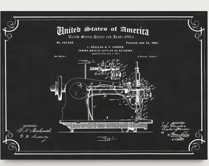 SEWING MACHINE PRINT Patent - Sewing Room Poster, Craft Room Decor, Gift For Her