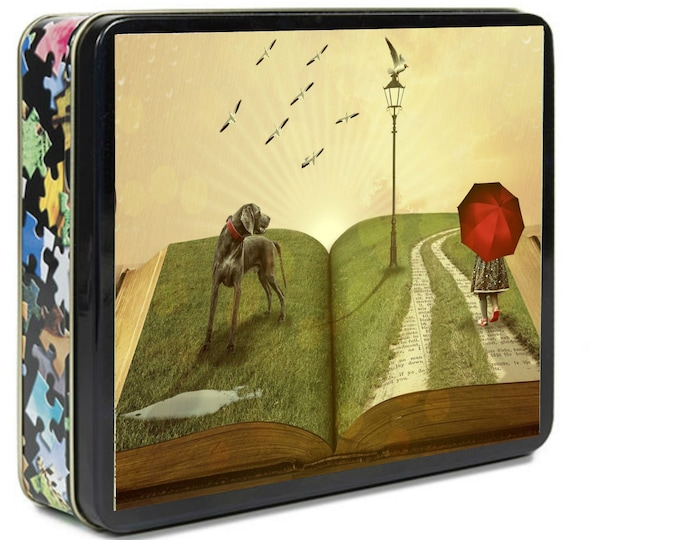 FANTASY PUZZLE, Girl And Dog Trip Through Book, Red Umbrella, Whimsical Fantasy, Puzzle In Tin Box, Family Game Night
