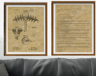 Minimalist Wall Art, Man Cave Decor, Line Drawing, Office Decor, Printable Wall Art, 2 Piece Set, Home Decor, Tool Patent Print