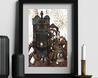 STEAM HOUSE GOTHIC Woman -Steampunk Art Digital Download  Cyberpunk Collage