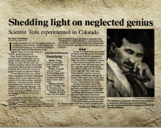 NICOLA TESLA NEWS Article Print - Vintage Newpaper Art, Wall Art, Tesla Poster, Invention Art