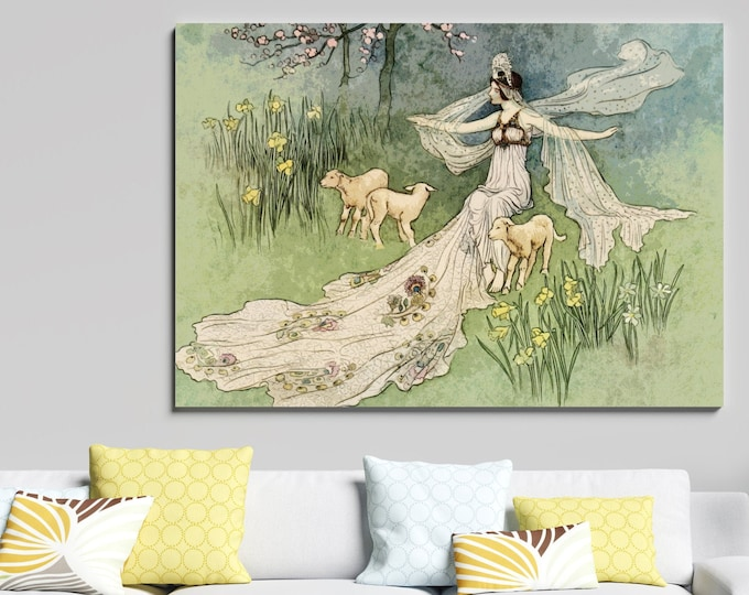 VINTAGE FAIRY TALE Poster, Fairy and Lambs with Forest Nymph, Vintage Wall Art, Nursery Decor