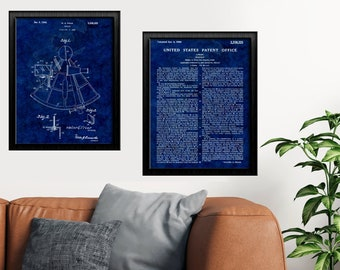 SEXTANT NAUTICAL Drawing COMBO - Sextant Patent Print, Wall Hanging Art, Den and Office Decor