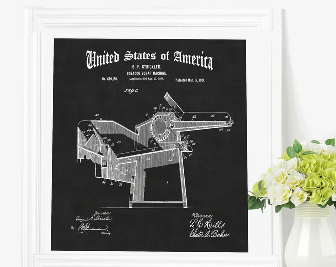 PATENT PRINT POSTER Art, Smoking Art, Mechanical Wall Art, Industrial Art, Vintage Print