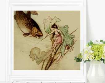 FISH and WATER NYMPH - Warwick Goble Poster, Fantasy Illustration, Watercolor Book Art