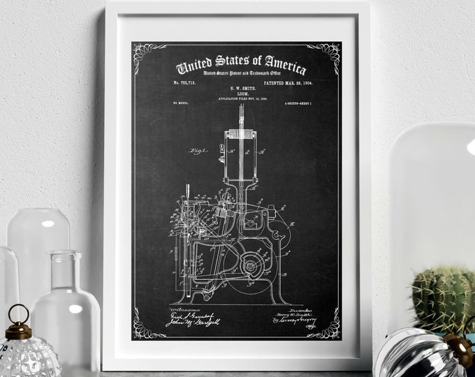 Vintage LOOM PATENT PRINT, Digital Download, Printable Wall Art, Sewing Room Decor