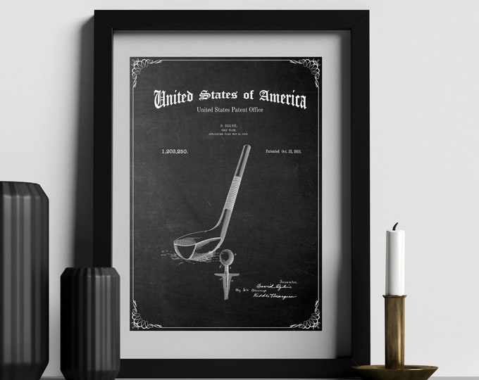 GOLF CLUB PATENT Print, Digital Art, Immediate Download, Gift For Golfer
