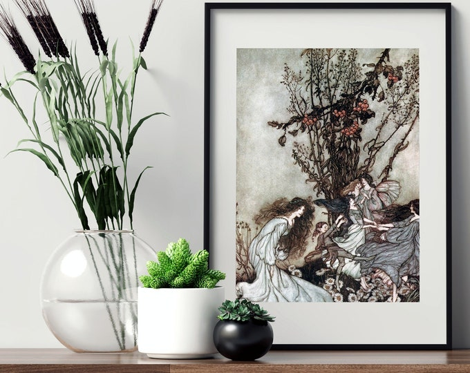 FAIRY DANCE RACKHAM Print - Fantasy Wall Art, Fairy Tale Book Illustration, Vintage Art, Arthur Rackham Poster, Nursery Decor