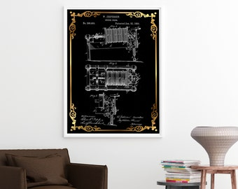 CHEESE PRESS PATENT Poster Print Wall Art - Black and White Illustration, Gold and Black