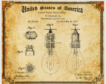 Vintage LIGHT BULB PATENT Print, Digital Download, Antique Paper, Vintage Print, Electrician's Gift