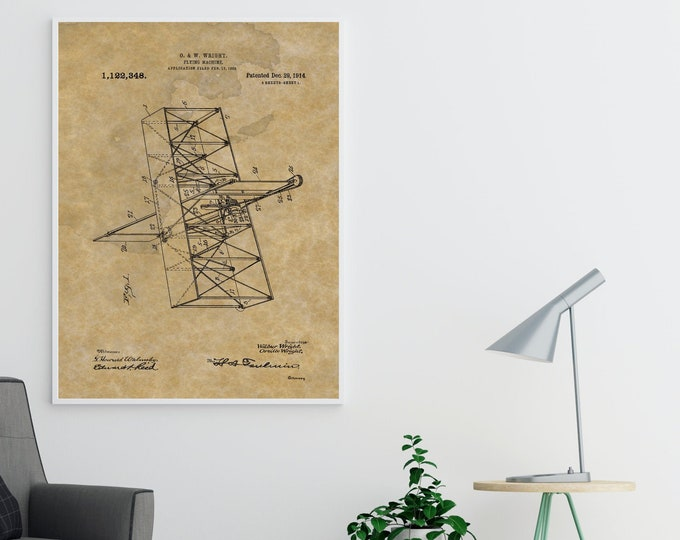 Wilbur and Orville Wright Airplane Patent Print - Vintage Poster Wall Art