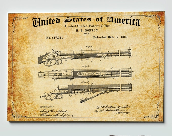 Henry RIFLE PATENT PRINT, Digital Download, 4 Sizes