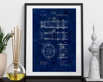 VINTAGE PRINT TELESCOPE Patent Art| 3 Size Set |Telescope Patent Print | White and Blue |Digital Download | Office Art| Den | Wall Hanging