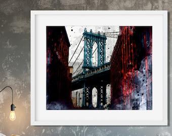 NEW YORK SKYLINE Print - George Washington Bridge Wall Art, Watercolor Poster, New York Landmark Art