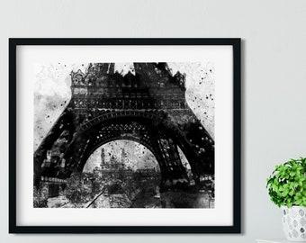 EIFFEL TOWER PRINT - Pen and Ink Drawing, Digital Download, Paris Landmark Art, Paris Wall Art, Paris Decor