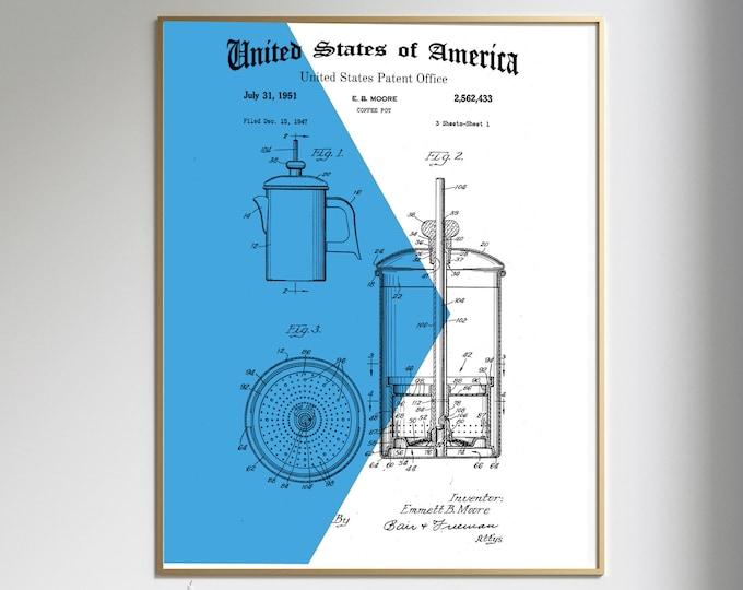 COFFEE POT PATENT Print, Modern Art, Geometric Design Print Background, Digital Download, 4 sizes