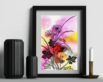FLOWER WATERCOLOR PRINT Digital Print, Bright Poster, Nature Painting, Flower Prints, Floral Wall Art, Nursery Art, Garden Print