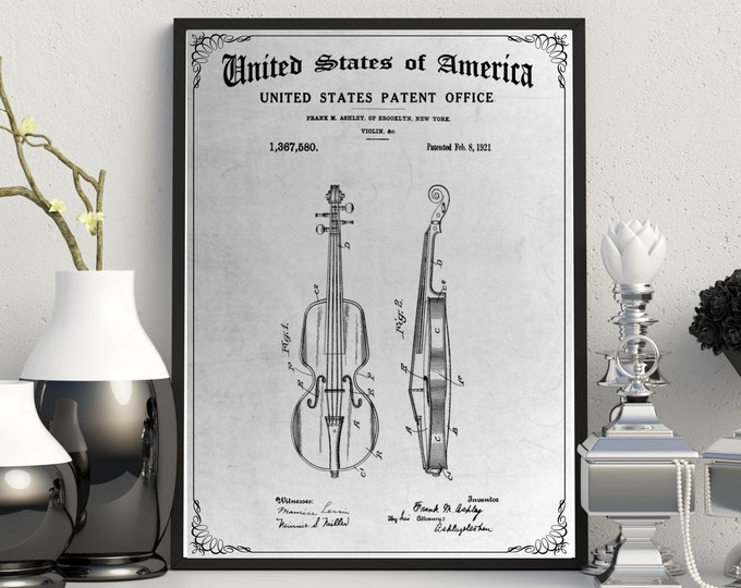 VINTAGE VIOLIN PATENT Print, 4 Sizes, Digital Download, Antique New York Poster, Historical Art, Muscian Gift