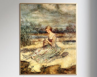 RACKHAM PRINT WOMAN Weaving  - Bookplate, Fairy Tale Illustration, Fairy Art, Anime