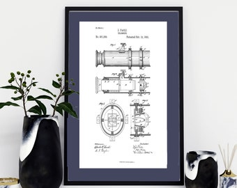 DIGITAL DOWNLOAD- Telescope Patent Print Wall Art | 3 Print Sizes Included