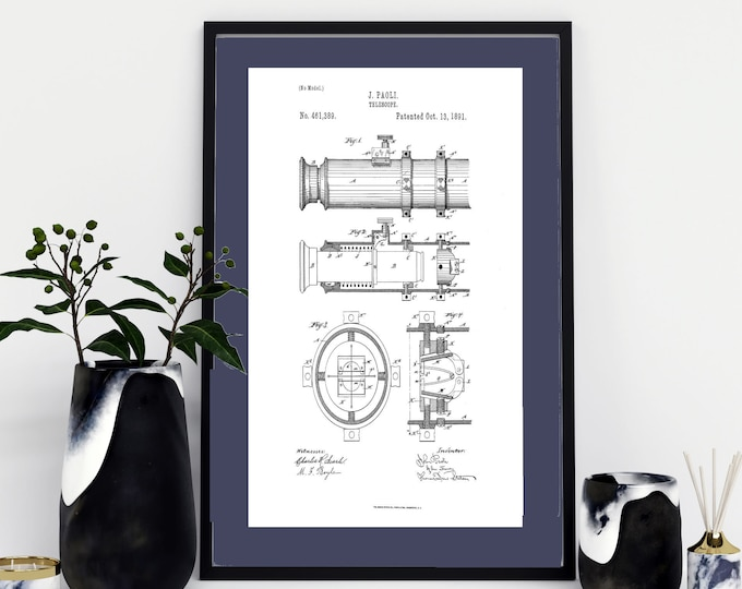 TELESCOPE TECHINCAL ART - Telescope Patent Print Wall Art. Digital Download, Nautical Art, For Him,