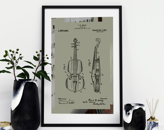 VIOLIN PATENT DRAWING |  3 Sizes Violin Art |Green and Black | Digital Download  | Music Art | Historical Art