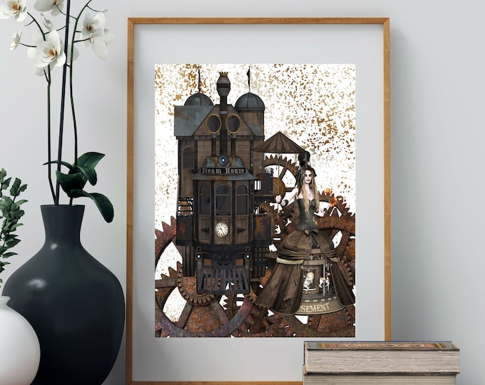 GEARS and WOMAN with Umbrella Steam House STEAMPUNK Poster, Modern Vintage Print, Features