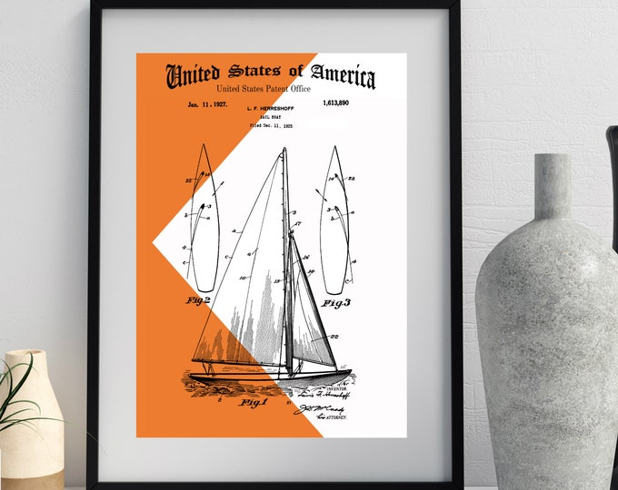 Burnt ORANGE SAILBOAT Wall Art, Modern Background, Vintage Patent Print, Invention Art, Nautical Art, Digital Download