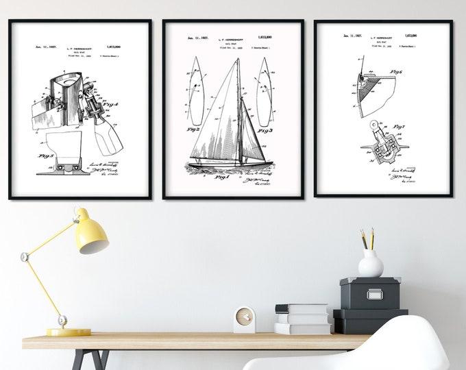 Digital Print Sailboat Patent Set 8x10 Minimalist Art Home Decor