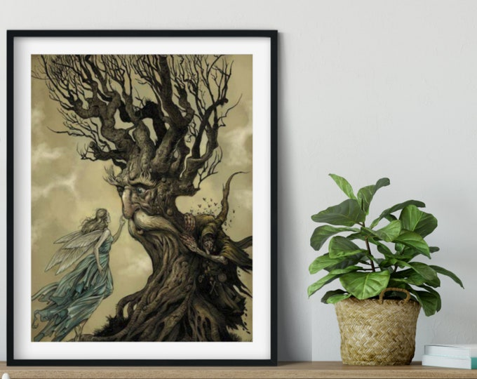 FAIRY WITCH TALKING Tree - Arthur Rackham Bookplate Illustration, Fairy Tale Poster, Vintage Wall Art, Nursery Decor