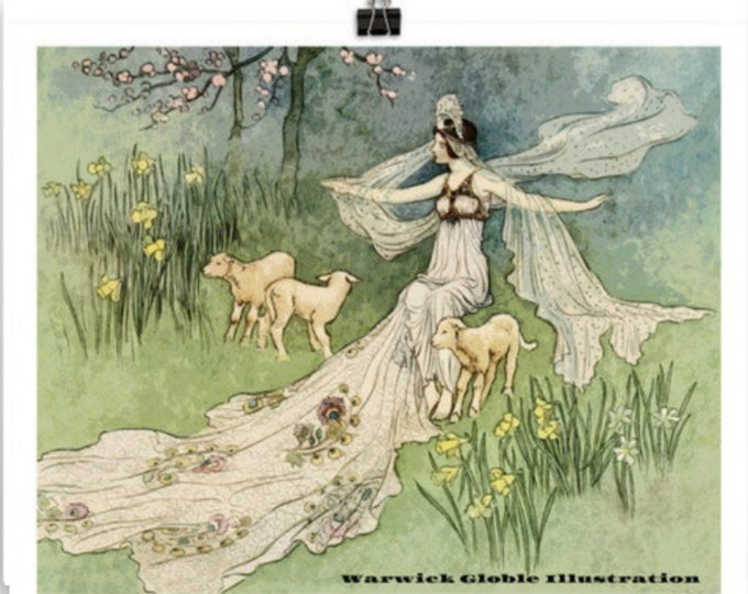 Vintage Fairy Tale Poster, FAIRY and LAMBS with Forest Nymph, Vintage Wall Art