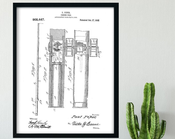 DIGITAL DOWNLOAD Fishing Pole Patent Print From 1908 - Black and White 4 Sizes To Print