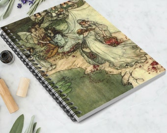 NYMPHS BY WATER - Spiral Notebook, Rule Lined, Bullet Journal, Arthur Rackham Print