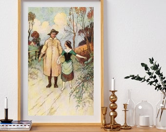 Warwick Goble Poster - Man and Woman Walking Print Home Decor Wall Art