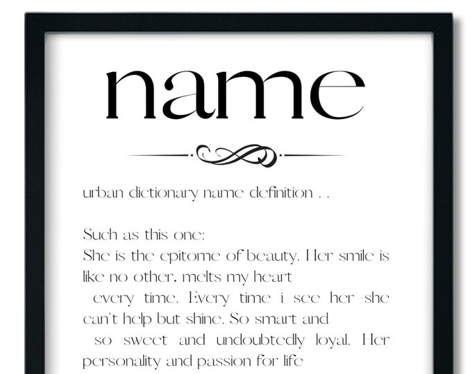 Personalized Custom Name and Definition Black and White Digital Delivery