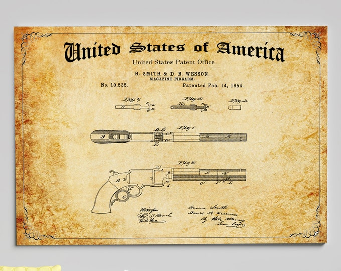 Antique Smith and Wesson GUN PATENT ART, Digital Download, Wall Art