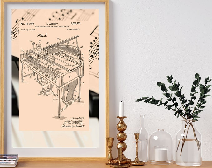 Vintage PIANO PATENT ART, Piano Sheet Music Print, Digital Download, Musician Gift, Home Decor, Invention Art, Printable Wall Art