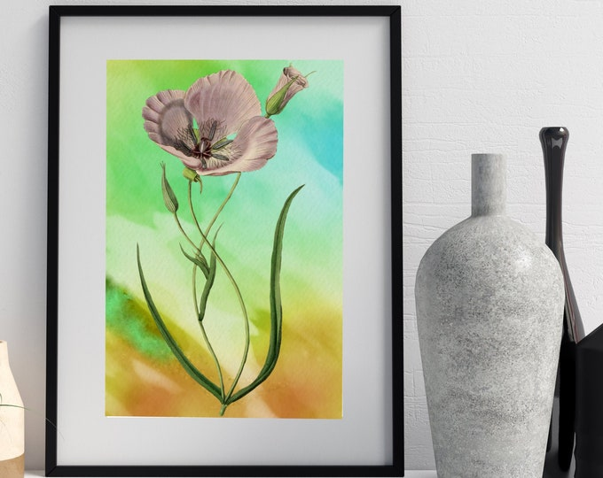 VINTAGE POPPY Wall Art, Chartreuse and Pink Abstract Poppy Art, Digital Download, Flower wall art, Floral Watercolor, Watercolor Art Print