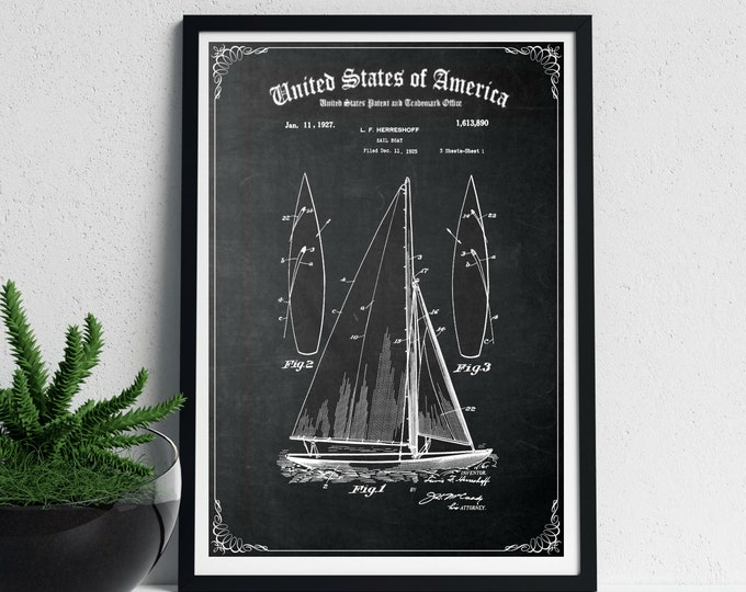 Vintage SAILBOAT POSTER PATENT, Digital Download, Nautical Patent Print on Chalkboard Background, Wall Art and Card Sizes